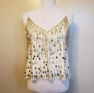 Calypso St. Barth | silk sequin beaded tank top